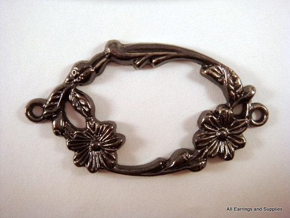 2 Floral Link Connector Gunmetal Oval 50x27mm - 2 pc - 4847