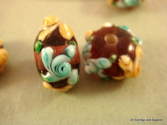 4 Amber Lampwork Bead Glass Yellow and Teal 14x9mm - 4 pc - 4894