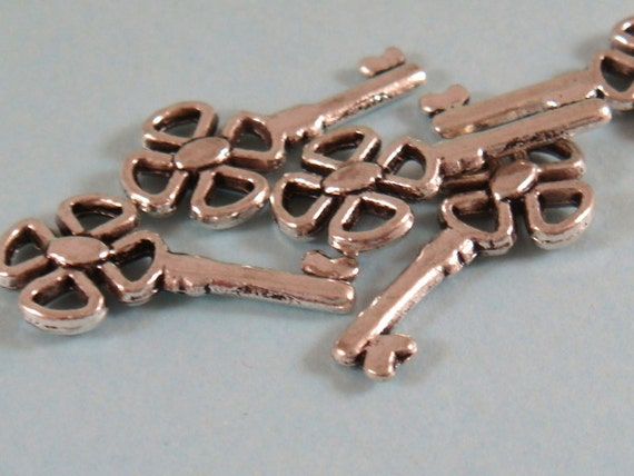 5 Silver Key Charm Drop Double Sided Fancy Antique 21x10mm - 5 pc - 5246