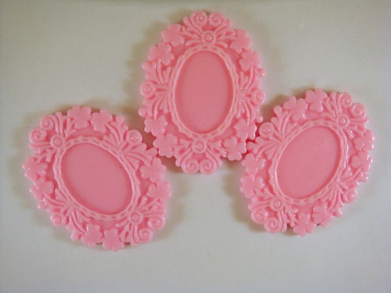 SALE - 3 Pink Cabochon Frame Resin Vintage Style 50x39mm takes 25x18mm Cab - 3 pc - A1006CF-P50x40mm3