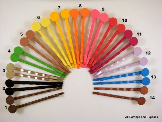 6 Bobby Pins 2 inches 8mm Pad - CHOOSE 3 COLORS - 6 pc - MS11023BP-AS6