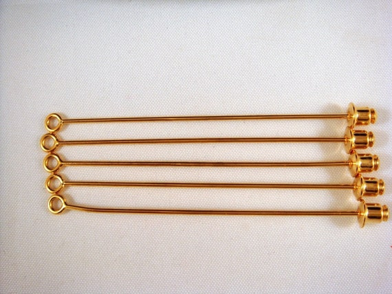 5 Gold Stick Pin w Loop Jewelry Components - 5 pc - 4122008