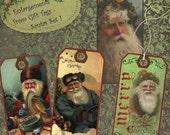 Instant Download Printable Collage Sheet Gift Tag Set - Christmas, Santa Set 1