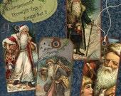 Instant Download Digital Collage Sheet DIY Gift Tag Set - Christmas, Santa Set 3