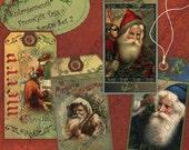 Instant Download Digital Collage Sheet Printable Gift Tag Kit - Christmas, Santa Set 2