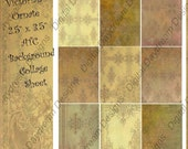Digital Collage Sheet - ATC ACEO Backgrounds 2.5 x 3.5 size - Victorian Ornate