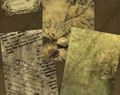 Digital Collage Sheet - ATC ACEO Backgrounds 2.5 x 3.5 size - Victorian Grunge