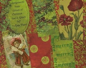 Digital Collage Sheet 1 x 2 size - Colors of Christmas, Red and Green