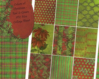 Instant Download Digital Collage Sheet - ATC 2.5 x 3.5 size - Christmas - Colors of Christmas, Red and Green Backgrounds Set 1