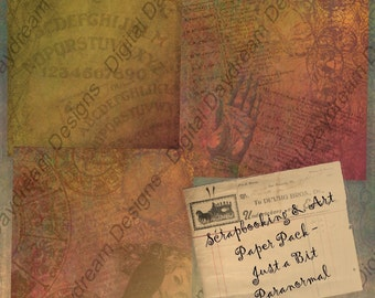 Digital Scrapbooking and Art Paper Pack - Just a Bit Paranormal