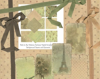 Instant Download Digital Scrapbooking Background Paper and Elements Pack - Paris in the Distance Beckons