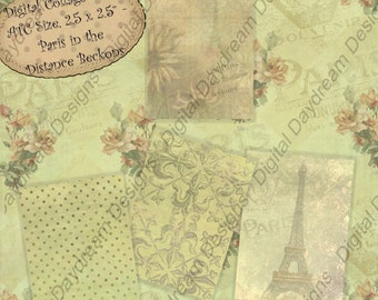Instant Download Digital Printable Collage Sheet - ATC ACEO Backgrounds 2.5 x 3.5 size - Paris in the Distance Beckons