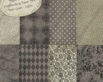 Digital Download Printable Scrapbooking Background Paper Kit - Basic Grays, Lights