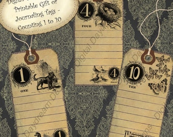 Instant Download Printable Collage Sheet Gift or Scrapbook Journaling Tag Set - Counting, 1 to 10