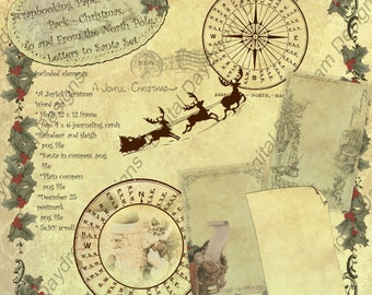 Instant Download Digital Printable Christmas Scrapbooking Paper & Element Set - To and From the North Pole, Letters to Santa