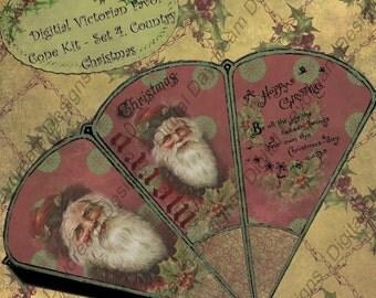 Digital Download Printable Christmas Favor Cone - Set 4, A Country Christmas 1