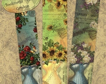 Digital Printable Bookmarks Corset Gardens Bookmark Set Instant Download Collage Sheet Journal Printables