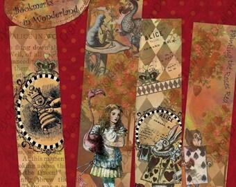 Printable Bookmarks Alice in Wonderland, Instant Download Digital Printable Collage Sheet - 1.5 x 6 inches, Alice in Wonderland