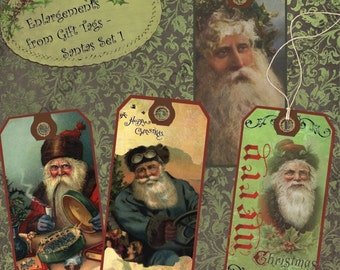 Instant Digital Download Printable Collage Sheet Gift Tag Set - Christmas, Victorian Santa Gift Tags Set 1