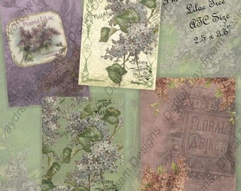 Instant Download Digital Printable Collage Sheet - ATC ACEO Backgrounds 2.5 x 3.5 size - I'm Thinking of the Lilac Tree