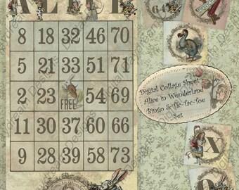 12-Card Set Printable Party Games Bingo Alice In Wonderland Instant Digital Download inclues Tic-Tac-Toe game set Collage Sheet