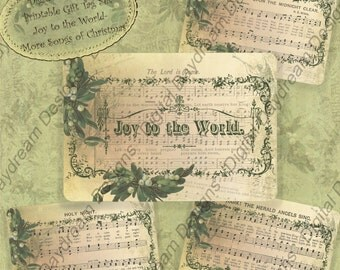 Christmas Digital Download Collage Sheet Card or Gift Tag Set - Joy to the World, More Songs of Christmas