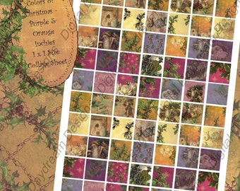 Instant Download Digital Collage Sheet 1 x 1 Inchies size - Christmas, Colors of Christmas Oranges and Purples
