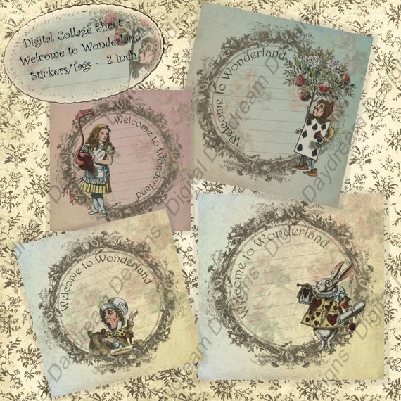 Alice Printables Welcome to Wonderland Instant Download Digital Stickers, tags 2x2
