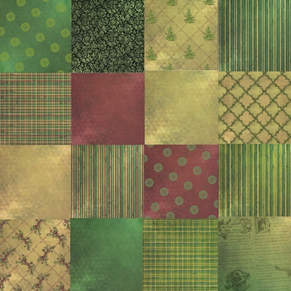 Digital Scrapbooking Background Paper Pack - Colors of Christmas Green and Tan Country Christmas