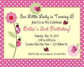 Ladybug Birthday Party Invitations With Envelopes/ Personalized/ Set of 10/Girls Party Invitations
