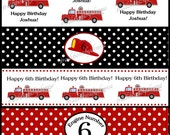 Fire Truck Water Bottle Labels/ DIY Printable Digital File/ Personalized Boys Party/ Matching Items Available in Shop
