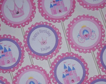 PRINCESS CUPCAKE TOPPERS/ Personalized Girls Pink Birthday/ Set of 12/ Matching Items Available