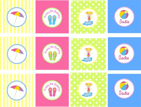 POOL PARTY Girls Printable Cupcake Toppers , Favor Tags, Stickers/ Personalized Birthday / Matching Invitations, Tags, Water Bottle Labels