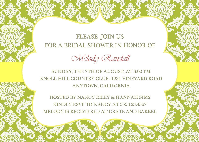 Wedding Invitation Green And Yellow Monicamarmolfo Bridal Shower Elegant Damaskprintable Digital Zoom Gallery