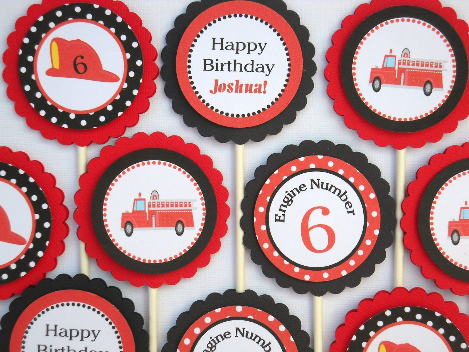 Fire Engine Cupcake Toppers Fire Truck Cupcake Toppers Set