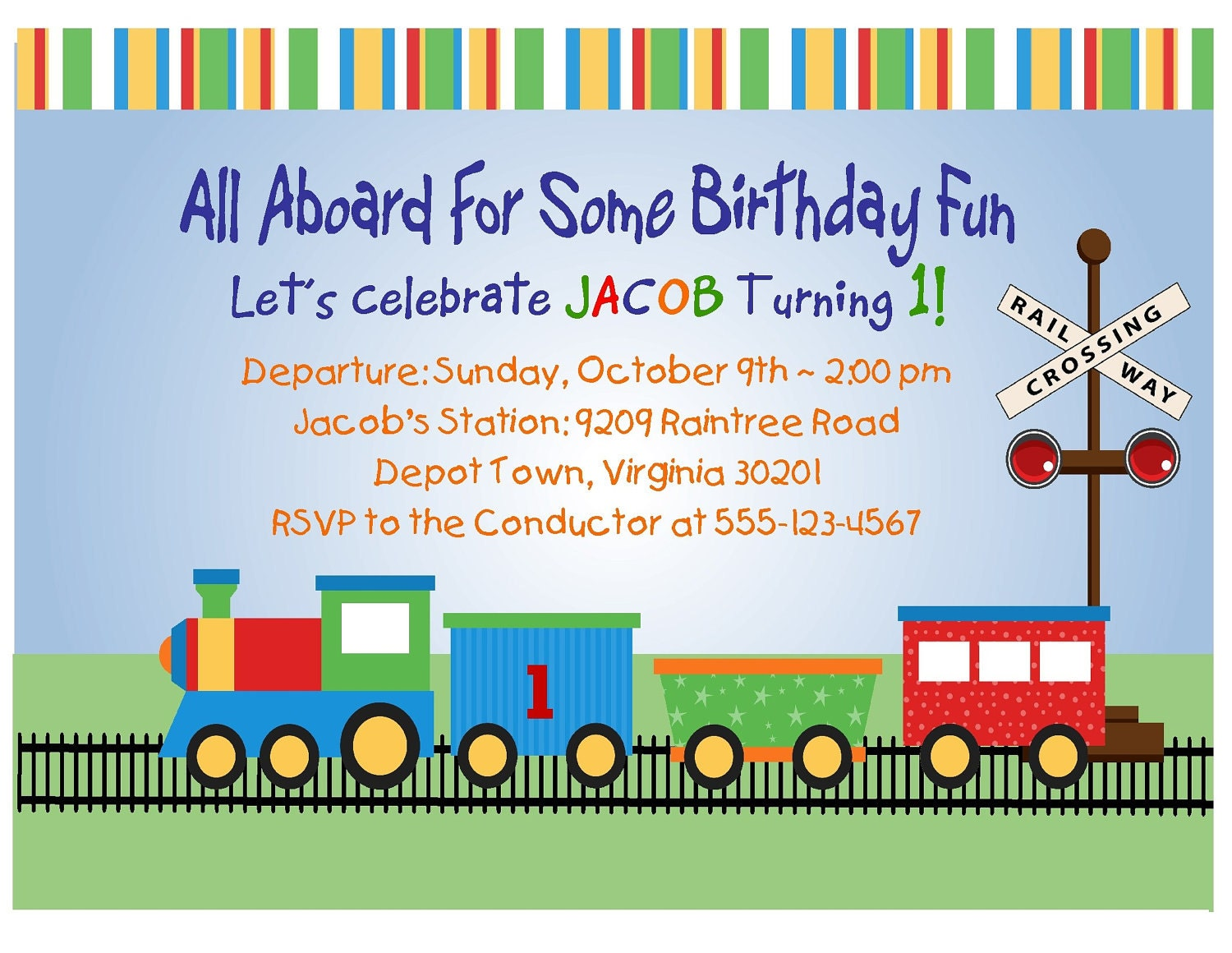Train Invitation 1st Birthday Printable Digital File First