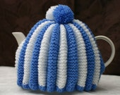 4-6 cup Blue and White Tea Pot Cozy with 4 matching egg cozies