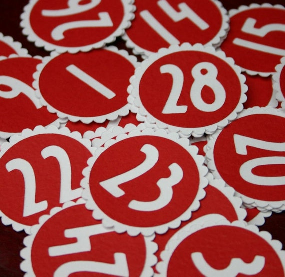 31 Red and White Numbers