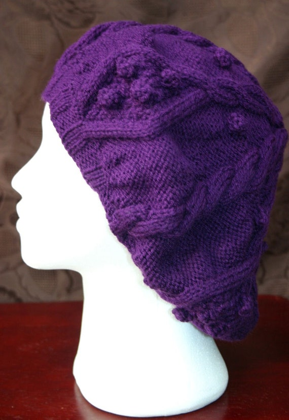 Purple Cable Knit Beret Hat
