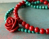 Inspired by Frida Kahlo necklace turquoise and coral