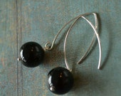 Candy Bubbles - Black berry Sterling silver drops and onyx stone