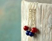 Danglings  earrings with cobalt blue jade  stone - coral stone  and sterling silver