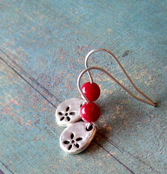 Stone flower earrings sterling silver with coral stone