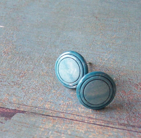 Circles vintage button earstuds