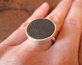 SALE 20% Off - ZEN // Sterling silver ring with natural Slate