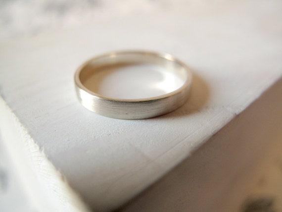 White Gold Wedding Band. 18kt White Gold, 4mm, Engagement ring, Wedding band, Satin finish, wedding ring, white gold band. Made to Order.