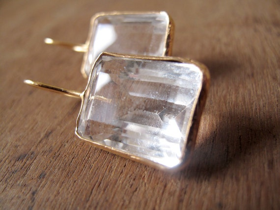 GOLDEN // Bronze earrings gold plated with square faceted quartz