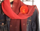 Harvest Moon Chiffon Scarf and Flower Brooch