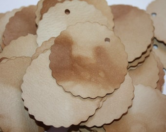 100 Scalloped Circle Tea Stained Tag
