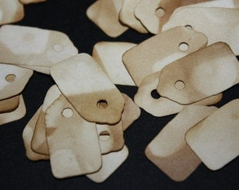 Jewelry size tag 100 Extra Small Tea Stained Vintage looking Price Tags